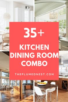 35+ Amazing Kitchen Dining Room Combo Photos – The Plumed Nest Kitchen Dining Combo, All White Kitchen, Farmhouse Style Kitchen, Kitchen Sets, Kitchen Styling, Kitchen Modern, Open Kitchen, Galley Kitchen Remodel, Galley Kitchens
