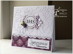 Handmade by Domcia First Communion Cards, Christian Cards, Embossed Cards, Cute Cards, Christening, Diy And Crafts, Invitations, Crafty, Frame