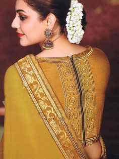 Indian wedding blouse design for silk sarees - ArtsyCraftsyDad Blouse Designs High Neck, Saree Blouse Patterns, High Neck Blouse, Fancy Blouse Designs, Designer Blouse Patterns, Golden Blouse Designs, Latest Blouse Patterns, New Saree Designs, Mehndi Designs