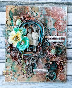 LikeArtStudio by Ola Khomenok: Vintage style mixed media canvas. Altered Canvas, Altered Art, Mixed Media Canvas, Mixed Media Art, Art Nouveau, Art Prints For Home, Book Sculpture, Art Journal Pages, Art Journaling