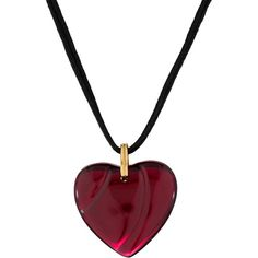 Pre-owned Baccarat Heart Pendant Necklace ($175) ❤ liked on Polyvore featuring jewelry, necklaces, black, black pendant, pre owned jewelry, cord necklace, pendant jewelry and pendants & necklaces