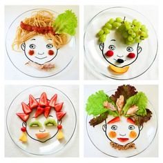 Download and print the designs for making DIY food face plate. A great way to introduce food art to kids!