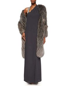 Brunello Cucinelli Fox Fur Cashmere-Knit Long Coat & Sleeveless Monili-Shoulder Gown Fall 2015