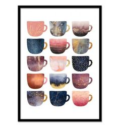 Art-Poster 50 x 70 cm - Pretty coffee cups - Pink series - Elisabeth Fredriksson - Geometric Design Illustration. Art-Poster and prints published by Wall Editions.
