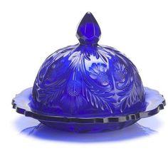Mosser Glass Cobalt Blue Butter Dish