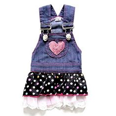 ZUNEA Small Dog Clothes for Summer Denim Heart Dog Dress Princess Polka Dots Gauze Decorated Outfits Blue S