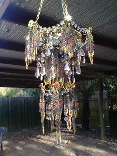 Artist Julie Crisp I wonder if Brad and I could do this with some odds and ends from a chandelier. Bohemian Lamp, Bohemian Style, Boho Gypsy, Chandeliers, Chandelier Lighting, Beaded Chandelier, Art Beat, Lamp Shades, Suncatchers