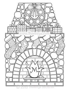 Christmas Fireplace Coloring Poster - xmas christmas diy customize unique gifts presents Colouring Pages, Adult Coloring Pages, Coloring Books, Nativity Coloring Pages, Free Coloring Sheets, Christmas Coloring Sheets, Printable Christmas Coloring Pages, Christmas Colors, Christmas Art