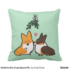 Mistletoe Kiss Corgi Square Pillow
