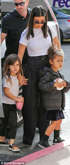 Classic: Penelope sported flame patterned slip-on shoes with leggings and a T-shirt