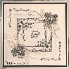Phills' Crafty Place: Giveaway Card - Blossom Frames in Black & Cream Create And Craft Tv, Birthday Cards For Friends, Shaped Cards, Square Card, Die Cut Cards, Card Making Techniques, Making Ideas, Wedding Cards, Cardmaking