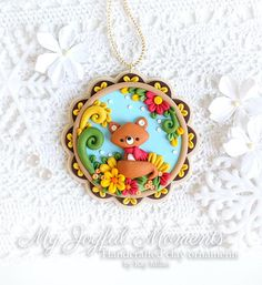 Handcrafted Polymer Clay Fall Foxl Ornament
