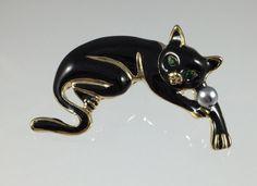 Vintage Black Cat Brooch  Emerald Green Eyes  by RhinestoneByrd