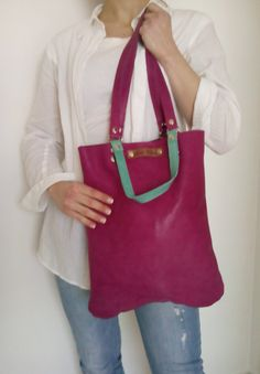 FREE SHIPPING  Magenta leather bag  Leather tote bag  от LaraKlass
