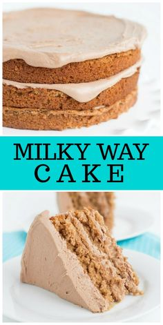 Three Layer Milky Way Cake with a delicious chocolate- marshmallow frosting : recipe from RecipeGirl No Bake Desserts, Just Desserts, Dessert Recipes, Frosting Recipes, Delicious Cake Recipes, Milky Way Cake, Marshmallow Frosting, Chocolate Marshmallows, Chocolate Chips