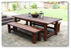 farmhouse picnic table plan   Patio dining table: