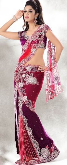 Red and purple sari| wedding saree| bridal sari