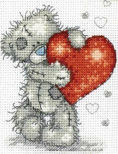 Free Disney Cross Stitch Charts | Anchor - Hearts - Tatty Teddy Cross Stitch Kit