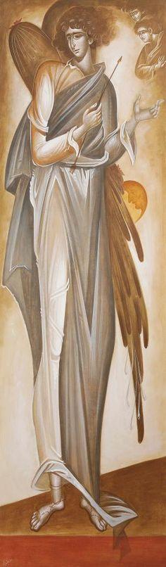 George Kordis, Eros Byzantine Icons, Byzantine Art, Greece Painting, Angel Pictures, Archangel Michael, Greek Art, Guardian Angels, Medieval Art, Angel Art