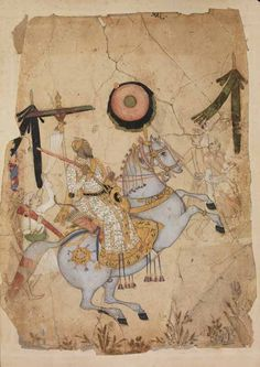 Mughal. British Library, Ikhlas Khan on horseback, Golconda, 1670-80 https://uk.pinterest.com/Phanerozoique/cavalier-orient/