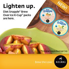 Diet Snapple Brew Over Ice K-Cup packs are now available in Peach and Lemon! #Keurig