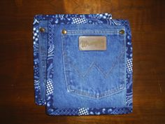 ReCycled UpCycled HandMade Denim Pot Holders Hot Pads set of 2 RePurposed. $7.00, via Etsy.  But I can make these.