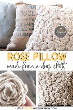 A textured pillow can be an inexpensive and easy DIY project. In this how-to, we use an inexpensive drop cloth to craft a beautiful accent pillow. Home decor sewing project.Knitting up a chunky blanket with large needles and Couture Jazz Yarn. An easy t Sewing Patterns Free, Free Sewing, Hand Sewing, Knit Patterns, Sewing Pillows, Diy Pillows, Cushions, White Pillows, Accent Pillows