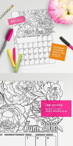 Make your own calendar with this June 2018 Calendar to color page!! #adultcoloring #coloringforadults #coloringpages #adultcoloringpages