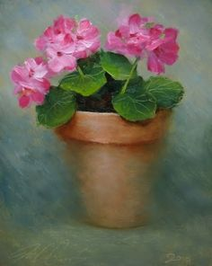 'Geraniums', painting by artist Justin Clements, Oil on canvas, 10 in. x 8 in. (25.4 cm x 20.3 cm), SOLD.