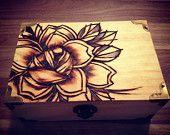 pyrography. woodburning. traditional rose...tattoo flash