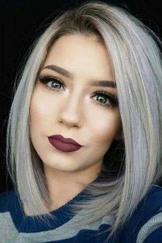 40 Sexy Makeup Ideas for Valentines Day - Beautiful Daily Shares Sexy Makeup, Hair Makeup, Grey Wig, Gray Hair, White Hair, Long Bob Haircuts, Angled Bob Hairstyles, Silver Hair, Hair Dos