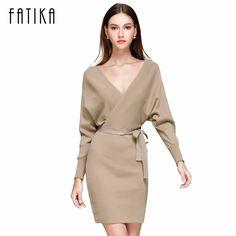 843e16e4fa2 FATIKA 2017 Fashion Women Autumn Winter Mini Dresses Solid V-Neck Long  Batwing Sleeve Elegant Knitted Sweater Dress With Belt