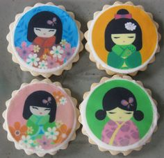Kokeshi Doll Cookies by sweetniks on Etsy Japanese Birthday, Japanese Party, Chinese Party, Japanese Girl, Fancy Cookies, Cute Cookies, Cupcakes, Cupcake Cookies, Asian Party Themes