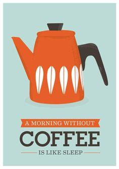 Kitchen art Print Coffee Cathrineholm  retro  mid century modern inspired kettle art poster A3 size. $21.00 USD, via Etsy.
