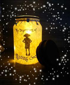 Harry Potter Dobby, night light, light up jar, Dobby, Harry Potter light, Harry Potter gift, mason jar, Harry Potter decor, handmade, lights by Grobblenots on Etsy