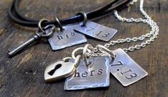 Personalized Jewelry  Hand Stamped His & by OrganicRustCreation, $62.00
