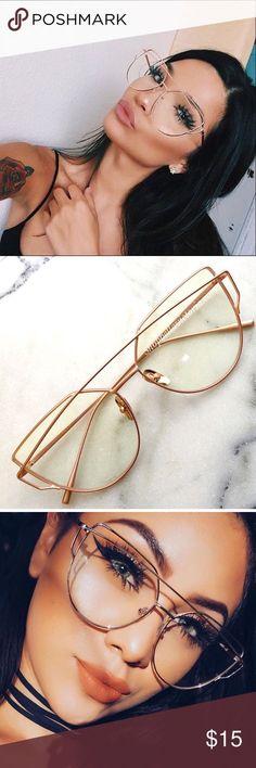 95998b2a257 Katia Rose Gold Clear Cat Eye Glasses New Rose Gold Cat Eye Clear Glasses  Rose Gold