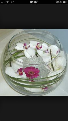 Using fish bowls for decoration & Easy DIY fish bowl centerpiece idea for a purple wedding. Can use ...
