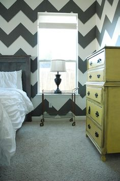 Wow!  Look at those chevron stripes on the wall!!