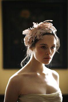 Blush Feather Voilette by Jennifer Behr bridal :: Vintage Dress :: Photography by Belathée :: wedding :: headband :: bride :: veil :: feathers