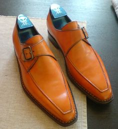 Sutor Mantellassi Orange Single Monk Straps www.theshoesnobblog.com