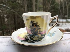 Rosina Bone China Ship Seagull Vintage Teacup Saucer Set Gold Trim England | Pottery & Glass, Pottery & China, China & Dinnerware | eBay!
