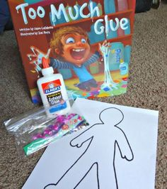 Too Much Glue book activity and  craft.  Really cute idea for the end of the year.  Would make a great art project for students with special learning needs.  Read more at:  http://www.ourwhimsicaldays.com/home/too-much-glue-summer-book-exchange