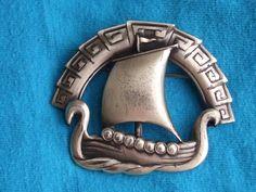 Sterling Coro Viking ship brooch
