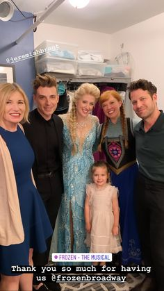Frozen Broadway Backstage Picture with Princess Elsa, Princess, Anna with famous interior designers Nate Berkus and Jeremiah Brent along with their daughter, Poppy Brent Berkus. Poppy Brent Berkus, Frozen On Broadway, Nate And Jeremiah, Famous Interior Designers, Frozen Costume, Princess Anna, Nate Berkus, Prom Dresses, Formal Dresses