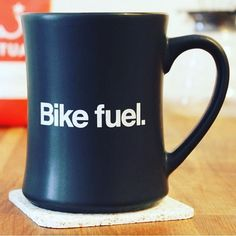 "Coffee- drink of many uses. Our friends at Mission Bicycle Co. are giving away one of their famous oversized ""Bike Fuel"" diner mugs and a bag of Ritual coffee! @missionbicycle to enter :)"