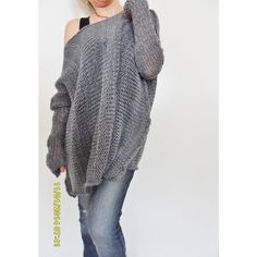 Oversize Women Cotton Chunky Knit Sweater bulky/slouchy/loose Sweater... ($97) ❤ liked on Polyvore featuring tops, sweaters, grey, women's clothing, grey knit sweater, gray sweater, slouchy oversized sweater, loose knit sweater and thumb hole sweater