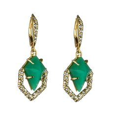 New Wave Gold Small Pave Kite Chrysoprase Earring::Earrings::Miss Havisham::Collections::Alexis Bittar