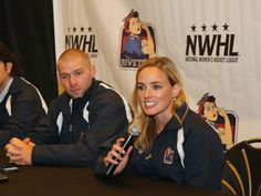 She shoots and scores! Women's professional ice hockey: The National Women's Hockey League: NWHL: Head coach Chad Wiseman and General Manager Dani Rylan of the New York Riveters of the National Womens Hockey League speak with the media at Aviator Sports