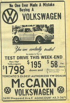 June 18, 2013 VW pic of the day: 1967 Dealership ad for VWs. - Imgur